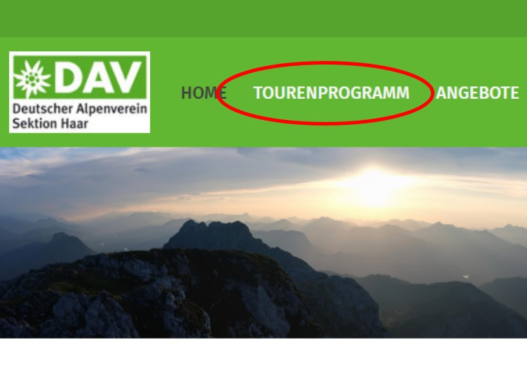 Tourenprogramm im Hauptmenü
